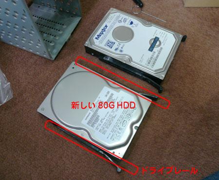 HDDとドライブレール