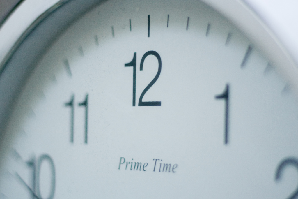 timepiece prime time clock closeup watch